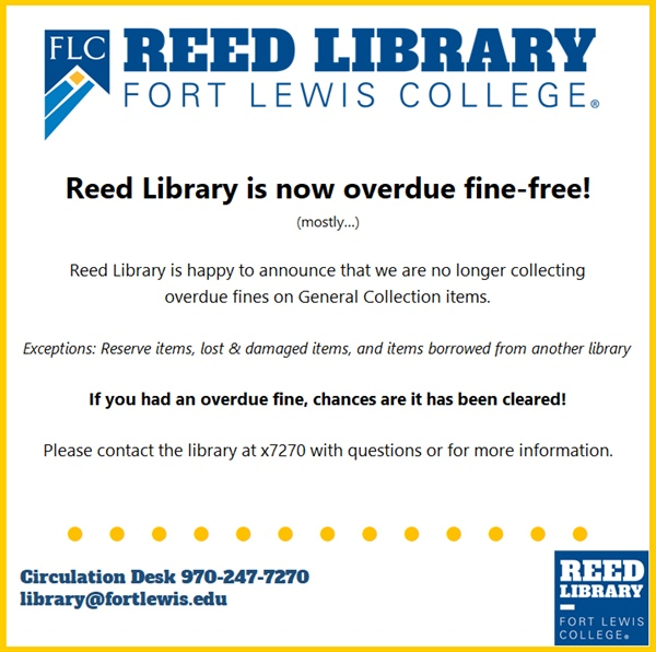 Reed Library is overdue fine-free!